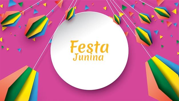 Diseño del festival festa junina sobre arte en papel y estilo plano con banderas de fiesta y linterna de papel.