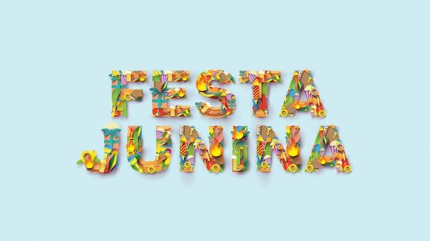 Diseño de festival de tipografía festa junina en papel art y estilo plano con banderas de fiesta y linterna de papel.