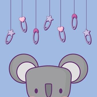 Diseño de la fiesta de bienvenida al bebé con lindo koala y pernos bebé colgando