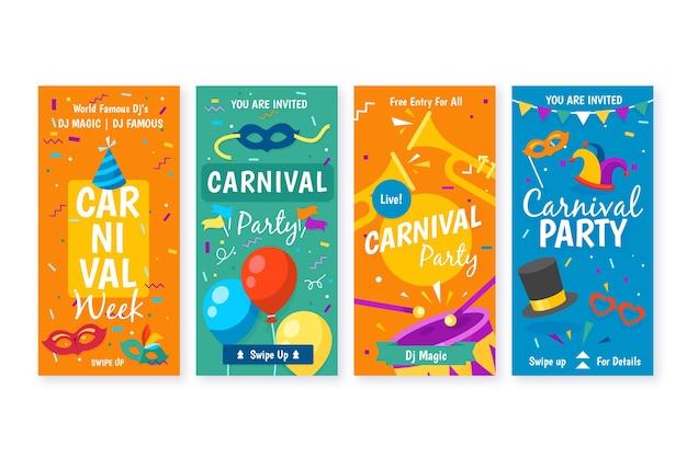 Diseño de fiesta de carnaval para la colección de historias de instagram