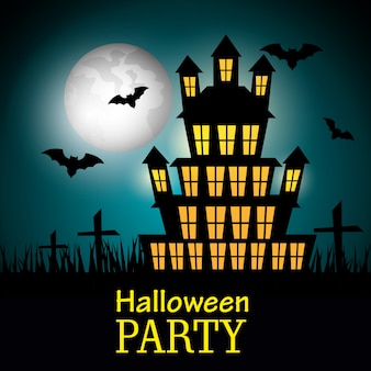Diseño de fiesta de halloween con silueta de casa embrujada