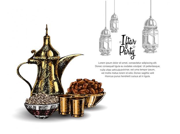 Diseño de fiesta iftar con linterna.