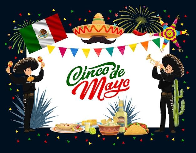 Diseño de fiesta mexicana del cinco de mayo con comida de fiesta
