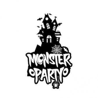 Diseño de fiesta de monstruo con vector de diseño creativo