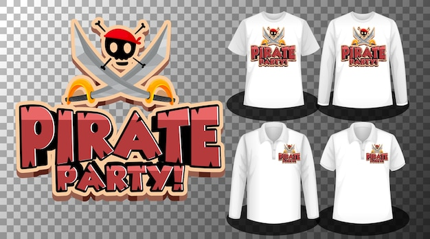 Diseño de fiesta pirata con conjunto de camisetas diferentes.