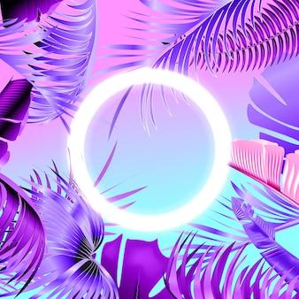 Diseño de fiesta tropical azul y violeta con hojas de palmera y luz de neón.