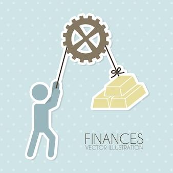 Diseño de finanzas sobre fondo punteado ilustración vectorial