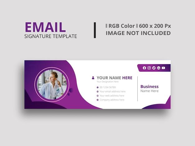 Diseño de firma de correo electrónico morado