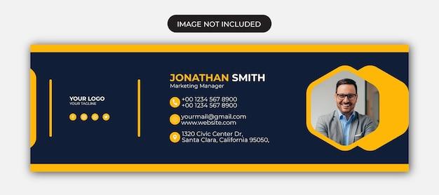 Diseño de firma de correo electrónico y plantilla de portada de redes sociales personales de pie de página de correo electrónico