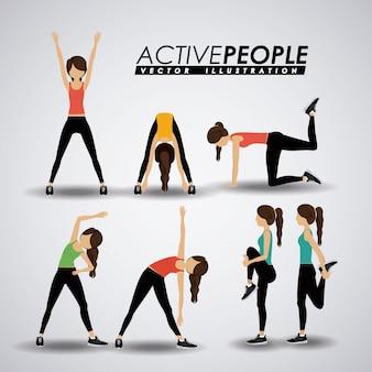 Diseño de fitness, ilustración vectorial