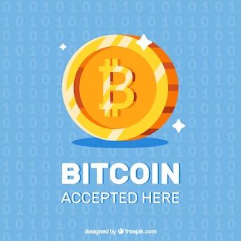 Diseño flat brilloso de bitcoin