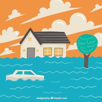 Diseño flat de inundación