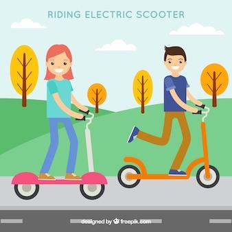 Diseño flat de moto eléctrico