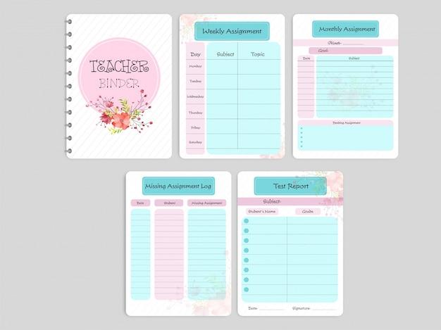 El diseño floral adornó la carpeta o el plan de la lección del profesor en colores rosados y azules.