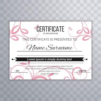 Diseño floral de plantilla de certificado abstracto