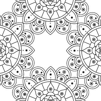 Diseño floral decorativo del ejemplo del vector del marco de la etnia mandala monocromática