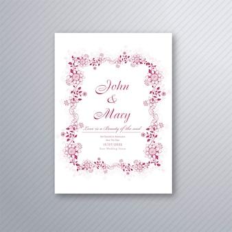 Diseño floral decorativo de la plantilla de la tarjeta de la invitación hermosa de la boda