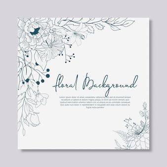 Diseño floral dibujado mano de la invitación de la boda