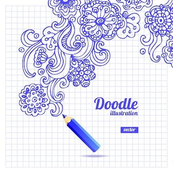 Diseño floral doodle
