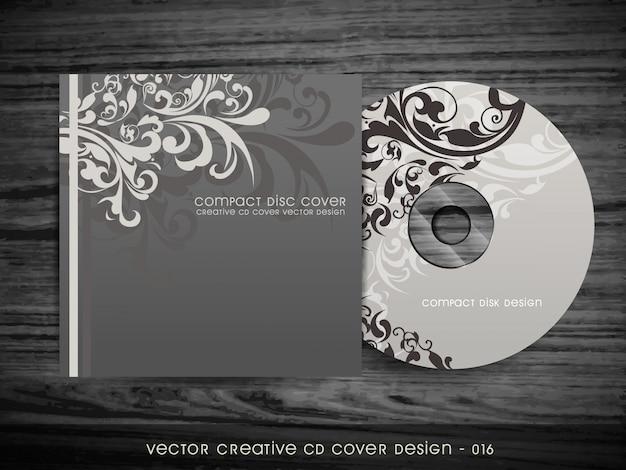 Diseño floral elegante de cubierta de cd