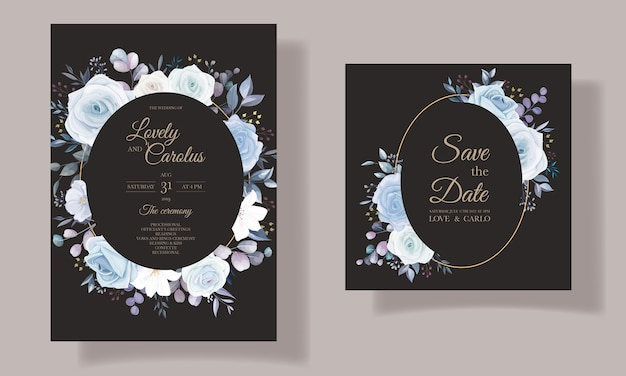 Diseño floral elegante de la invitación de la boda del dibujo de la mano