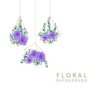 Diseño floral del fondo del marco con las flores púrpuras de la anémona.