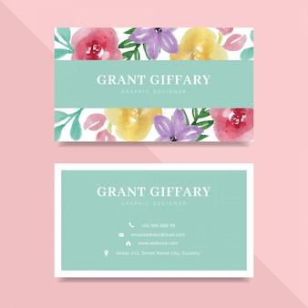Diseño floral hermoso de la tarjeta de visita de la acuarela