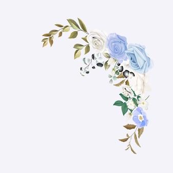 Diseño floral con imagen de vector de flores de ranunculus melocotón blanco