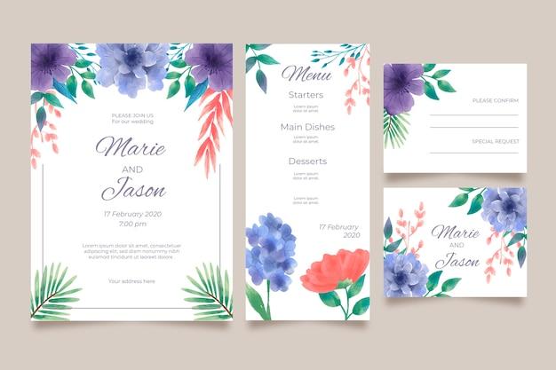 Diseño floral de invitación de boda