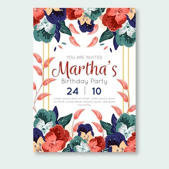 Diseño floral de invitación de cumpleaños