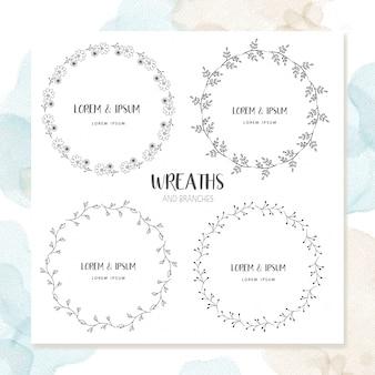 Diseño floral del marco del círculo
