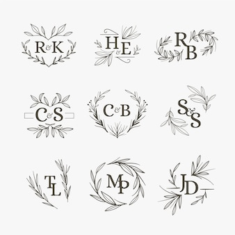 Diseño floral de monogramas de boda