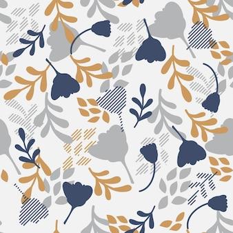 Diseño floral monótono de patrones sin fisuras.