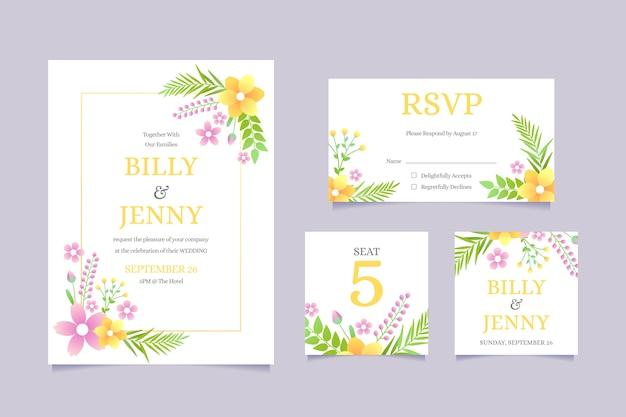 Diseño floral de papelería de boda