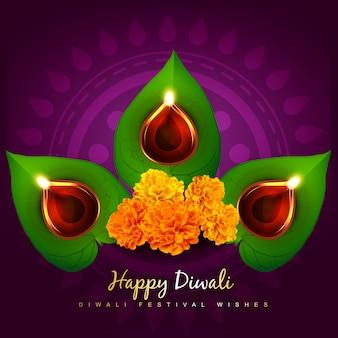 Diseño floral para el festival de diwali