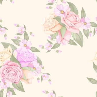 Diseño floral de patrones sin fisuras con rosas y hojas