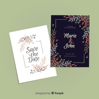 Diseño floral de plantilla de invitación de boda