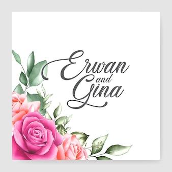 Diseño floral de la plantilla de la tarjeta de la invitación de la boda del marco