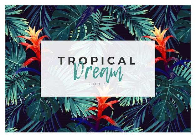 Diseño floral postal horizontal con flores de guzmania, monstera y hojas de palma real. fondo exótico hawaiano.