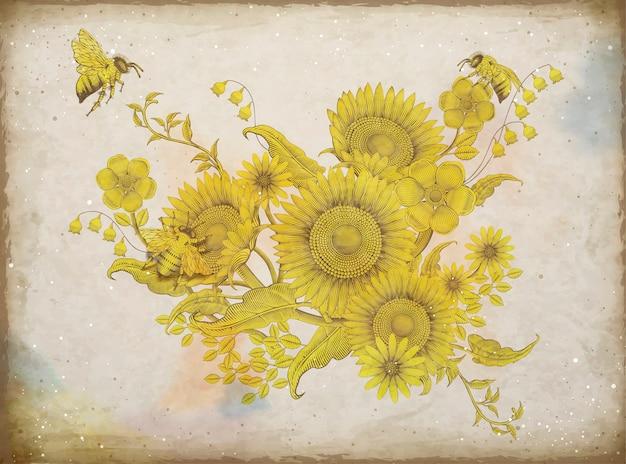 Diseño floral retro elegante, grabado de girasoles y abejas en tono beige