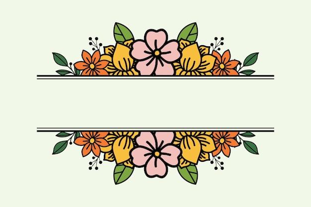 Diseño floral simple con espacio en el medio.