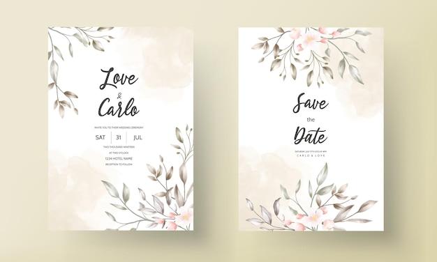 Diseño floral de la tarjeta de boda de la vendimia