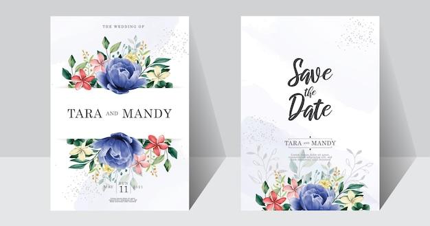 Diseño floral de tarjeta de invitación de boda con dibujo a mano y flor de peonía azul
