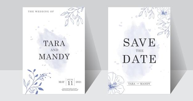 Diseño floral de tarjeta de invitación de boda con hoja de flor minimalista