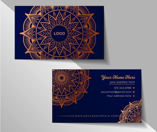Diseño floral de la tarjeta de visita del fondo de la mandala de lujo