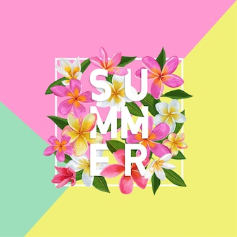 Diseño floral tropical del fondo floral del verano