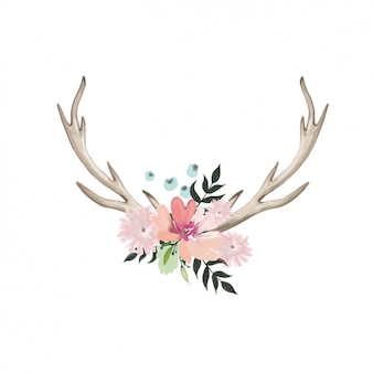Diseño de flores y cuernos en acuarela