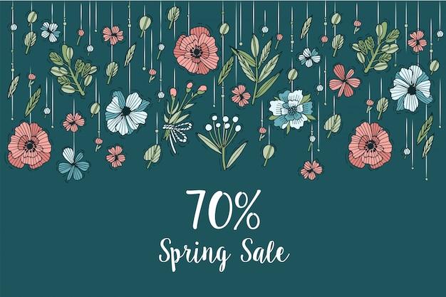 Diseño de flores de dibujo a mano para tarjeta de venta de primavera color colorido la tipografía y el ícono para venta especial ofrecen antecedentes, pancartas o carteles y otros imprimibles
