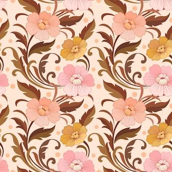 Diseño de flores elegantes en diseño de patrón de color vintage.