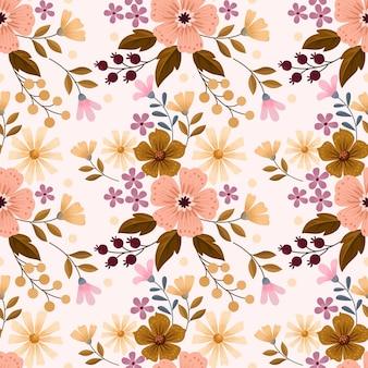 Diseño de flores florecientes en patrones sin fisuras de color vintage.